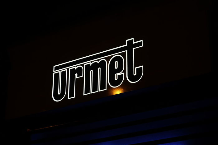 Rome, Italy - August 16, 2017: Urmet logo. The Italian company manufactures video door entry systems, intercom systems, telephone systems, systems for automation and access control Company Logo Brand Close-up Company Party Editorial  Illuminated Manufacturer Neon No People Single Word Symbol Text