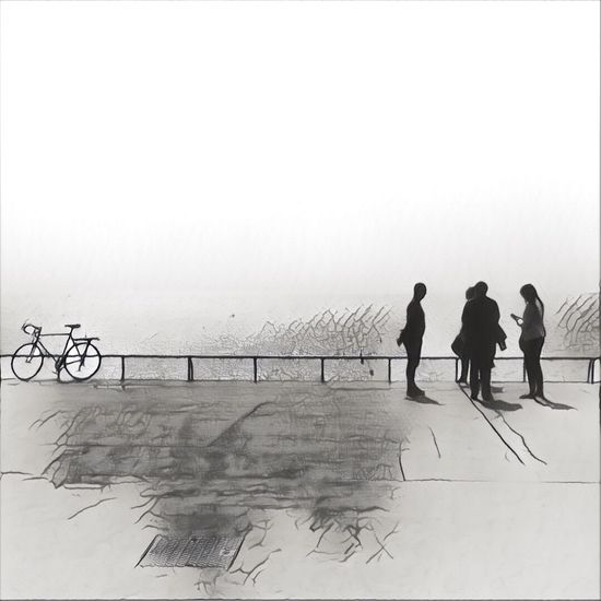 Shadows Lines And Shapes People Bicycle Stylized Drawing ✏ Blackandwhite
