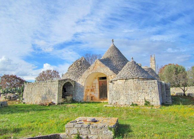 Trulli, traditional very old houses with green field in countryside, Puglia, Italy Green Puglia Rural Sale Tree Wall Architecture Building Exterior Built Structure Grass History Italy Nature Old Outdoors Sky Stone Stone Wall Trulli Trullo Valle D'itria