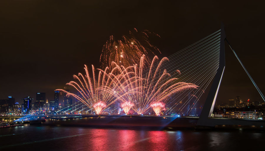 Celebration Colors Erasmus Bridge Erasmusbrug Exposure Firework Firework Display Fireworks Fireworks In The Sky Fireworksphotography Illuminated Light Long Exposure New Years Eve NewYear Newyearseve Night Pyro Pyrotechnics Rotterdam
