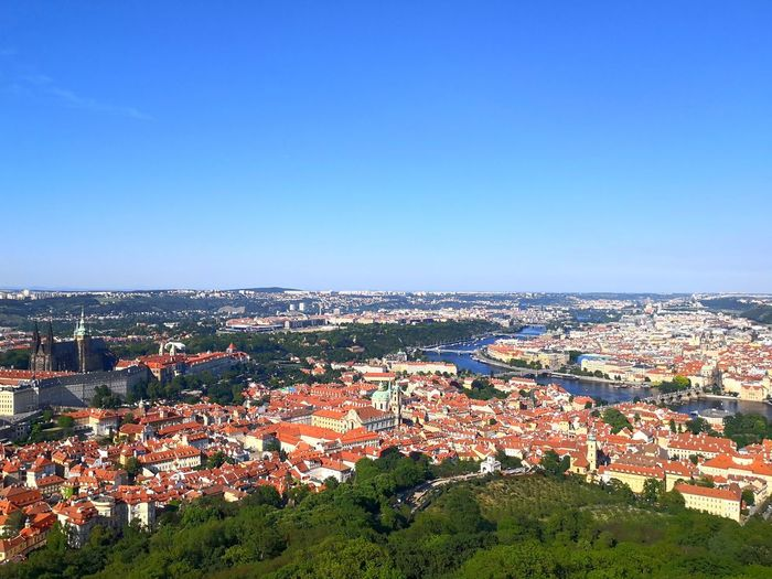 Areal City View of Prague The Architect - 2018 EyeEm Awards HD HDR Blue Sky Blue EyeEm Selects Prague Czech Sunny Day 🌞 Topview View From Top Areal View Architecture City Cityscape Clear Sky Town High Angle View Tree Sky Building Exterior TOWNSCAPE Mountain Housing Settlement Rooftop