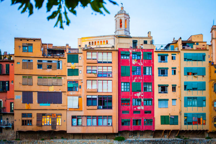 Multi colored buildings in city