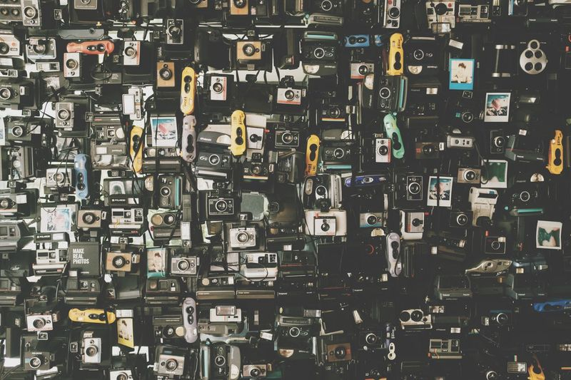 35mm Photo Camera Full Frame No People Backgrounds Pattern Large Group Of Objects Indoors  Abundance Technology Wall - Building Feature Art And Craft