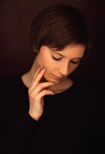 Black Background Close-up Dark Headshot Human Face Leisure Activity Lifestyles Portrait Studio Shot Vignette
