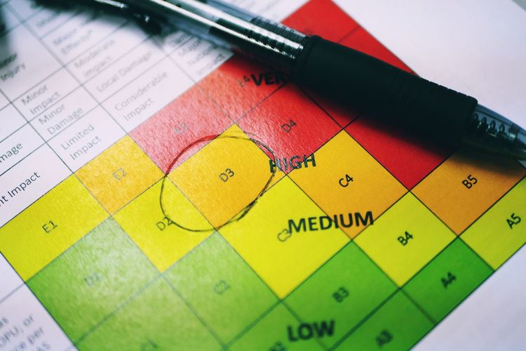 Risk assessment safety concept photo with risk assessment ratIng circled on high risk Rating Safety Concept Risk Assessment Job Hazard Job Safety Analysis Pen Matric High Risk Medium Risk Low Risk Matrix Safety Rating Yellow Close-up Ballpoint Pen Information