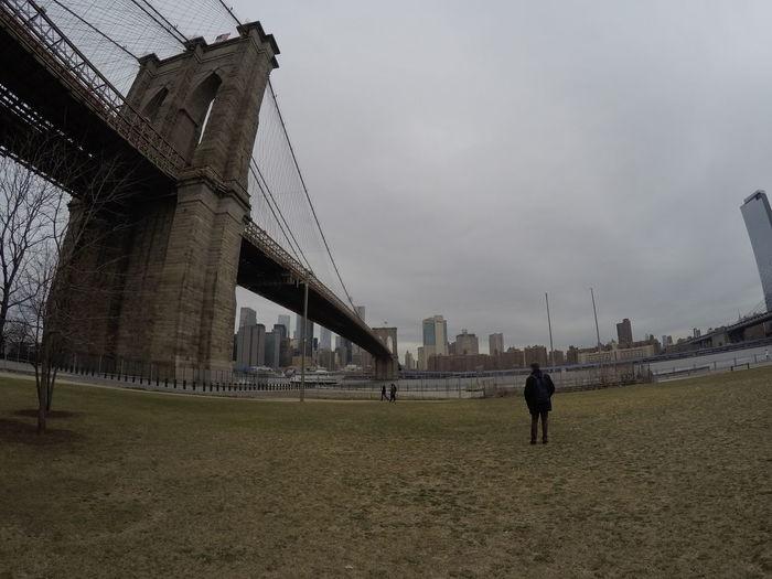 Rear view of bridge against buildings in city