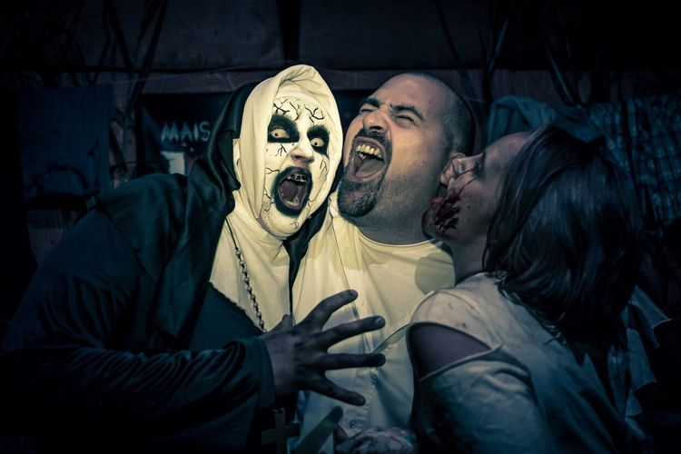 Spooky Night Mouth Open Horror Human Body Part Evil Halloween Men Indoors  Painted Image Adult People Adults Only