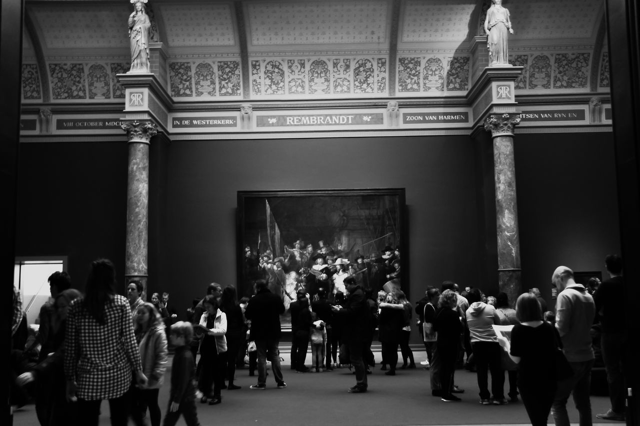 large group of people, real people, women, architecture, men, crowd, indoors, day, people