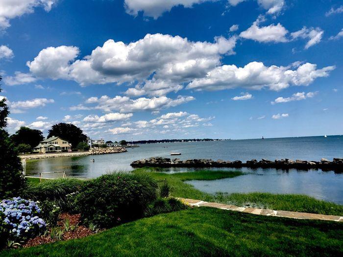 Horizon in Old Greenwich, Connecticut Water Scenics Cloud - Sky Grass Horizon Over Water