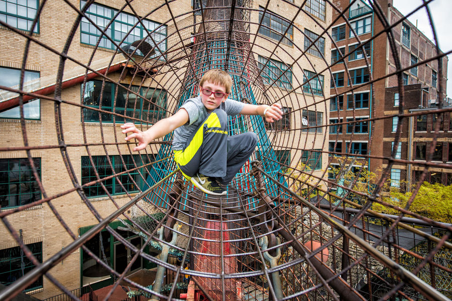 City Museum Stlouis Kids Being Kids Children Playing Climbing Web Exploring Built Structure Exercise Having Fun Perspective City Life Metal Leisure Activity Iron Adventure Club