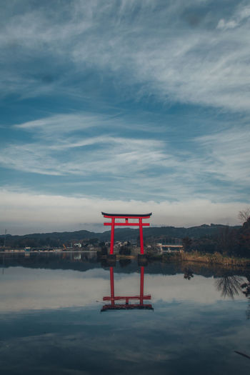 Japan Tranquility Travel Travel Destinations Japan Travel Enjoying Life Abstract Calm Worship Temple Shirine Red Reflection Lake Landscape Winter TORII Zen Nostalgia Nostalgic  Nature Water Sky Waterfront No People Cloud - Sky Tranquil Scene Architecture Scenics - Nature Beauty In Nature Built Structure Non-urban Scene Day Outdoors Safety My Best Photo
