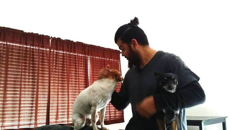Only Men Trust Dogslife Indoors  One Man Only Two Animals Happiness Caught The Moment Joy Of Life Moments Of Happiness