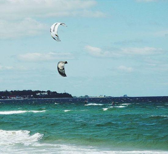 Kitsurfer in der Ostsee! Kitesurfers Ostsee Beach Summer Niceday Ocean Bluesky Wolkenliebe Outdoors Latergram Justgoshoot VSCO Visualsoflife Exploretocreate Somewheremagazine Trottermag Folkscenery Fernwehcollective Wanderlust
