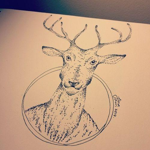 this deer looks like a man....Scaryshit Deerman Illustration