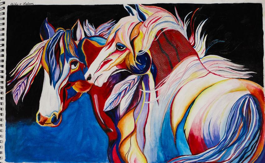 """my Painting. Horses AishaSalam Love """"In your light I learn how to love. In your beauty, how to make poems. You dance inside my chest where no-one sees you, but sometimes I do, and that sight becomes this art."""" ― Rumi. Yes, I paint a bit too! not perfect but this is the only painting of mine which I liked.And is 'complete'. (considering the lazy side of mine) two horses... Mr. and Mrs. Stallion...lol"""