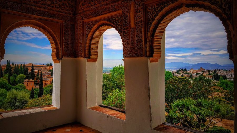 Alhambra. Windows of the Empress Marcus Andalucía Granada Spaın View Clouds 1001 Night Middle Ages Empress Windows Oriental Style Oriental Fairytale  Arch Architecture Built Structure No People Day Indoors  EyeEmNewHere Sky Travel Destinations Nature