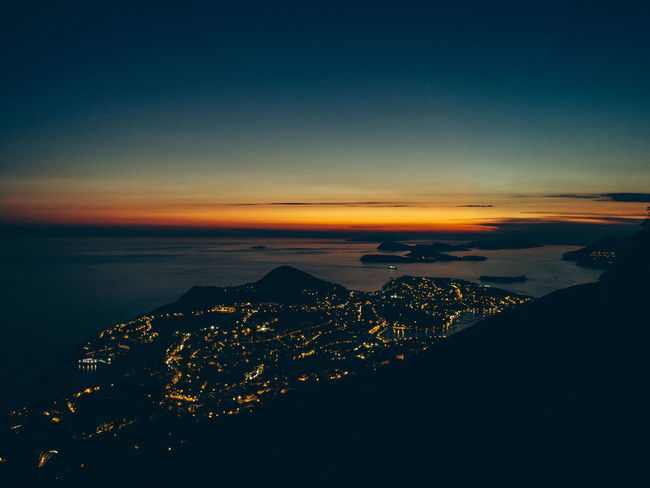 Croatia Twilight Aerial View Beauty In Nature Cityscape Cloud - Sky Dubrovnik Idyllic Land Mountain Nature No People Outdoors Scenics - Nature Sea Sky Sunset Tranquil Scene Tranquility Water