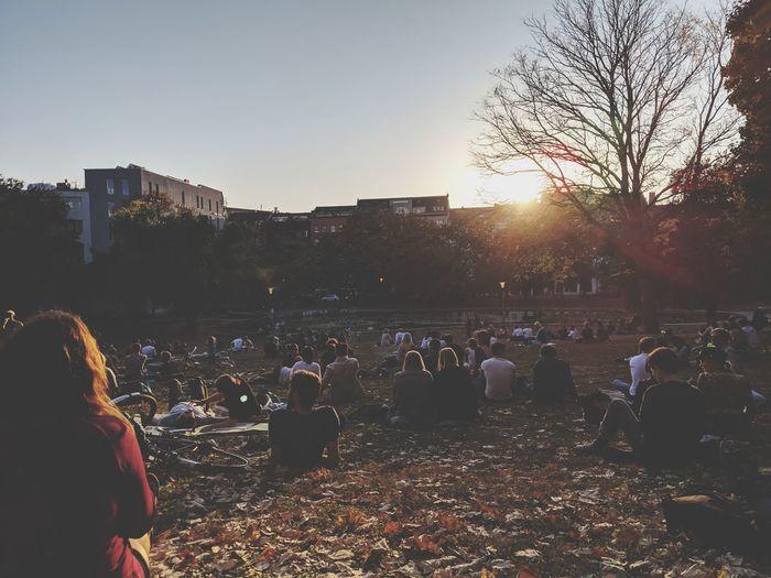 A New Beginning Crowd Sunset Sky