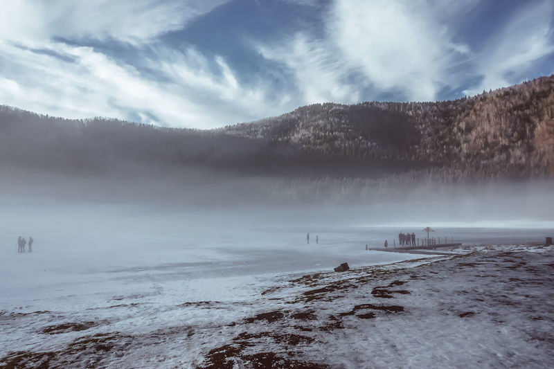 Frozen Snow ❄ Wintertime Beauty In Nature Cloud - Sky Cold Temperature Foggy Morning Lake Landscape Mountain Nature Outdoors Peoples Scenics Sky Snow Snowcapped Mountain Water Weather Winter Shades Of Winter