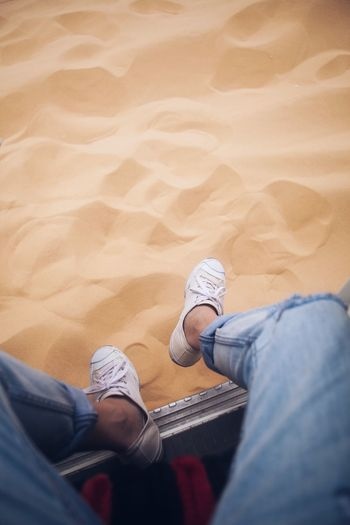 #sahara #egypt #calm Sahara Desert Casual Clothing Jeans One Person Shoe Human Leg Leisure Activity Low Section High Angle View Sand Nature Lifestyles