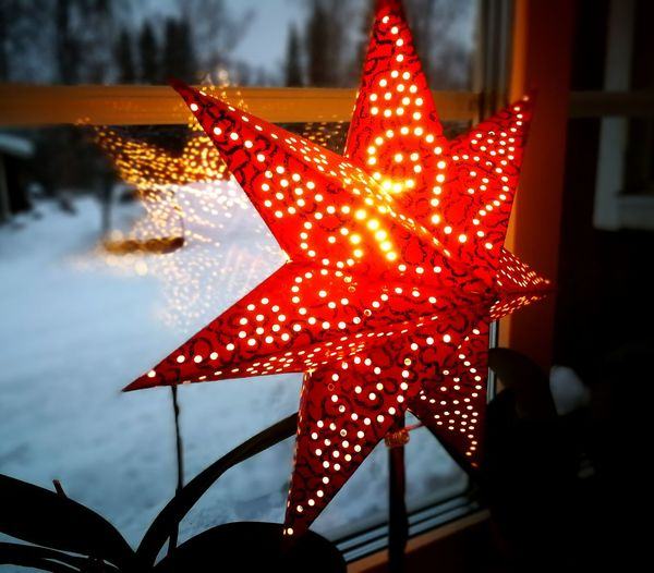 star, traditional Swedish decoration in Christmas Star, Decoration, Swedish, Night Red Night Christmas Ornament Indoors  No People Holiday - Event Close-up