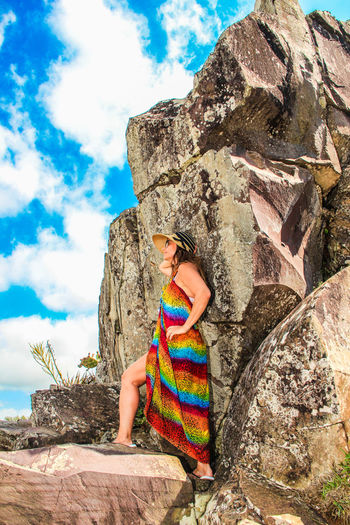Visual!! #beach #beautifulplace #Brazil #colors #model #montain #rocks Cloud - Sky Day One Person One Woman Only Outdoors Sky Women