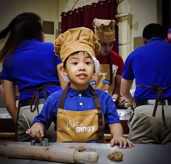 Activity Baking Cookies Apron Learn Create Play Chef LittleChef Baking Childhood Child Indoors  Real People Boys Preparation  Lifestyles Clothing Innocence Portrait Visual Creativity A New Beginning