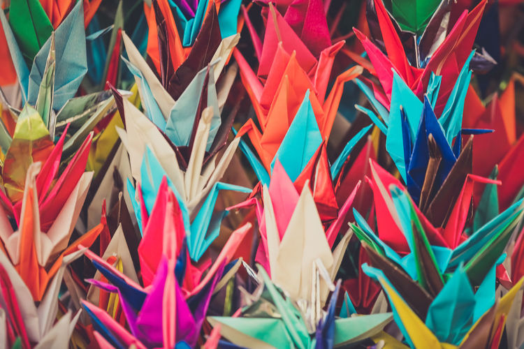 Full frame shot of colorful paper cranes