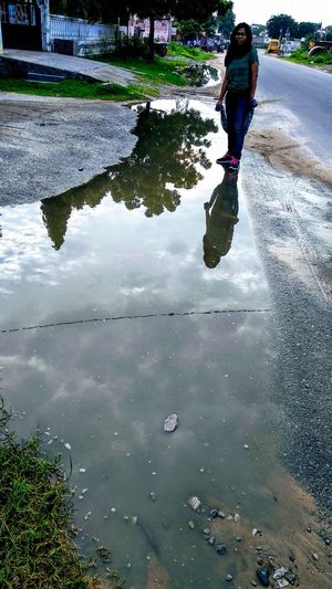 Water Puddle Full Length Men Reflection Wet Walking Sky Ankle Deep In Water Standing Water Monsoon