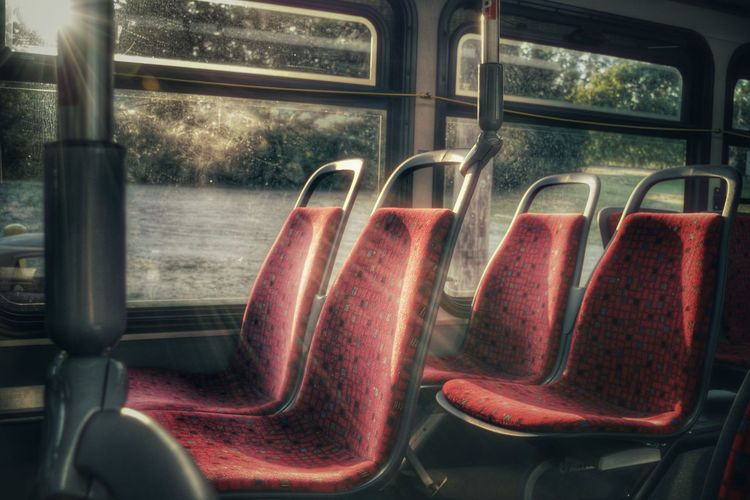Just me, the bus driver and the sun. Check This Out Sunlight Sun Rays Sunlight And Shadows Bus Transportation Empty Chairs Relaxing Enjoying Life Nikon Nikonphotography Eyeemphotography EyeEm Best Edits EyeEm Best Shots Artistic Photo Artistic