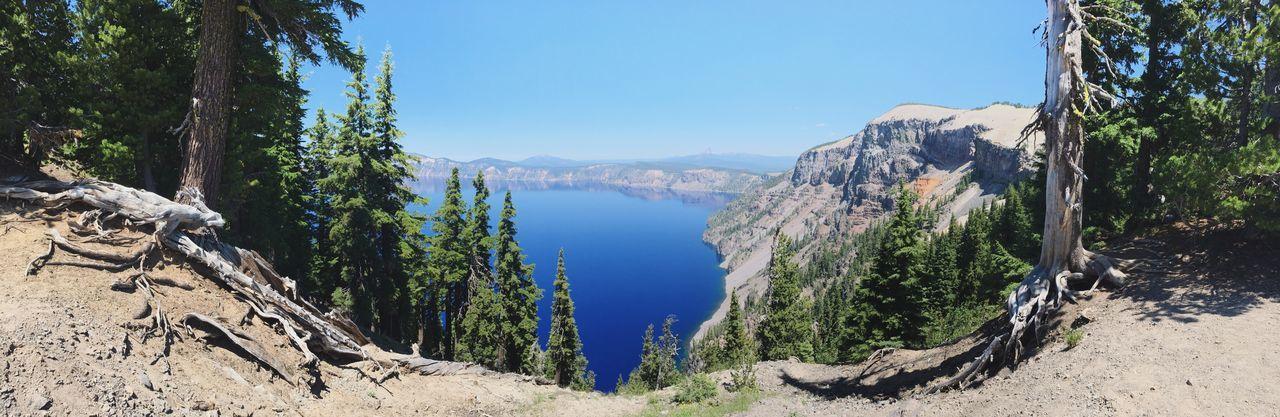 Panoramic View Of Crater Lake Against Sky