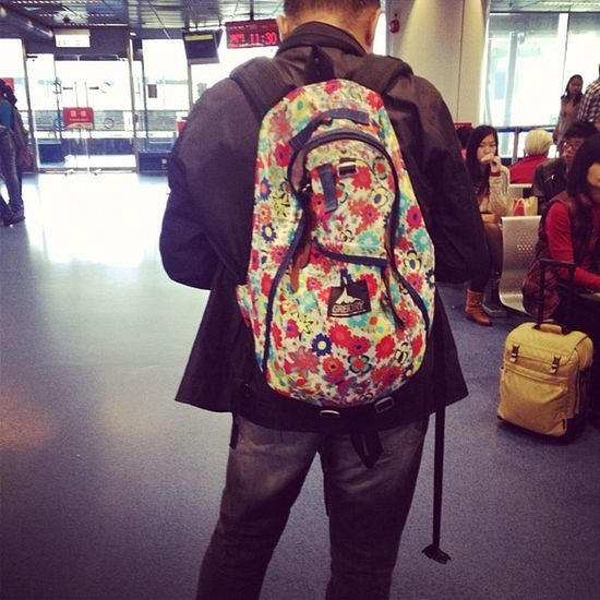 Forcing daddy to wear my floral backpack! Still manly ?Floral Gregory Macau Daddy