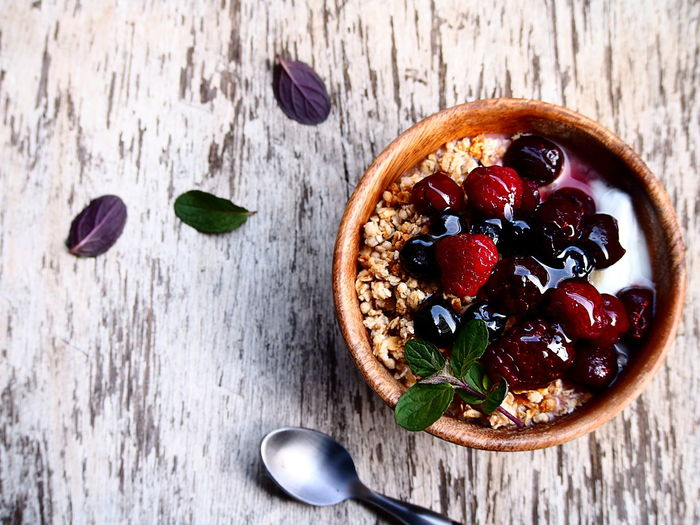 Berry Fruit Blueberry Bowl Breakfast Directly Above Eating Utensil Food Food And Drink Freshness Fruit Healthy Eating Healthy Lifestyle Herb In The Morning Still Life Table Temptation Wellbeing Yogurt