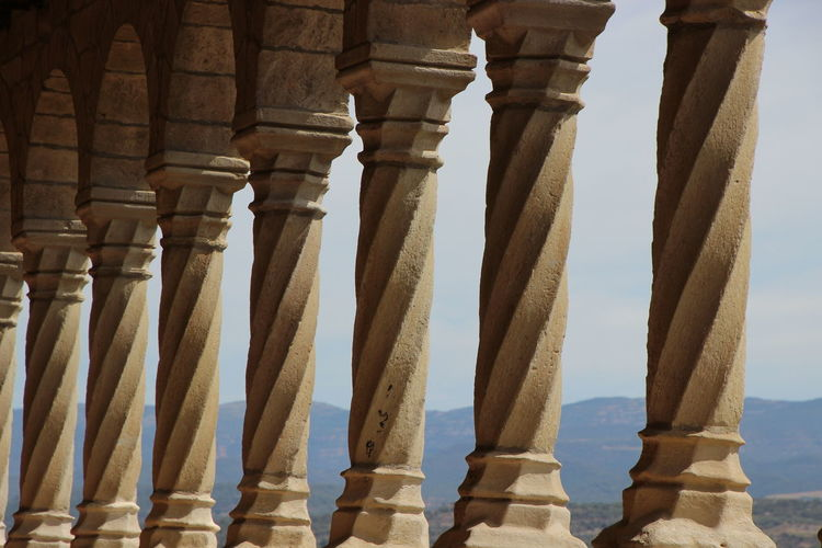 Row of architectural columns at historic building