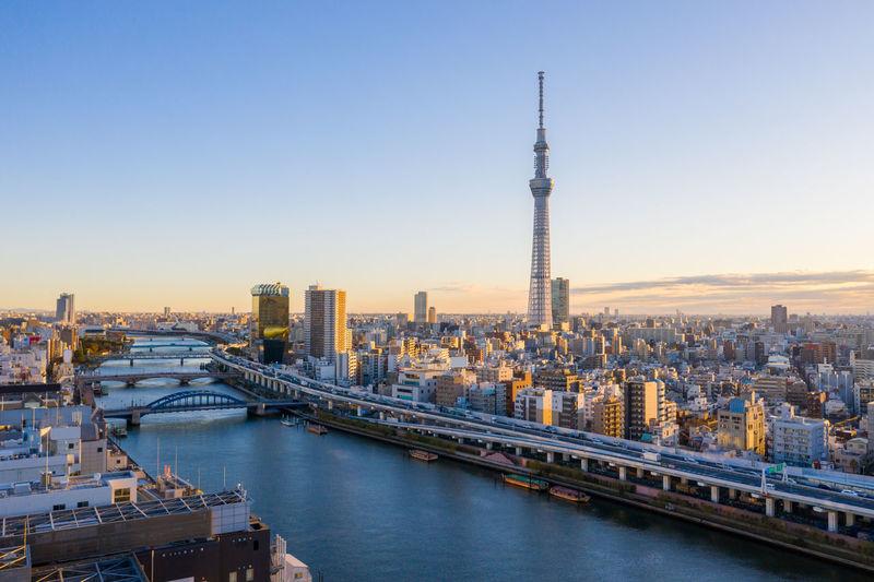 Aerial view sunrise of tokyo city skyline,japan