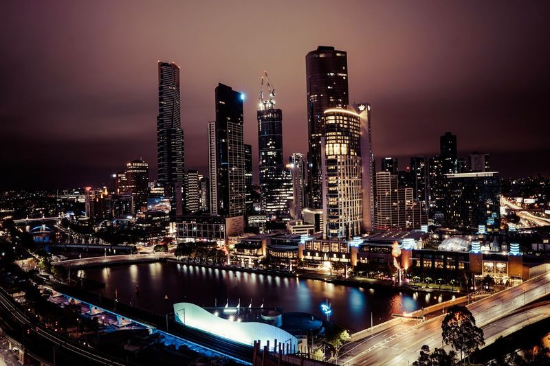 Australia Long Exposure Melbourne Sky Landscape Urban Skyline Cityscape Water Skyscraper Office Building Exterior Illuminated Modern Nature City Life Built Structure Building Night Residential District High Angle View Building Exterior Architecture City No People
