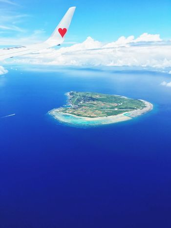 Skymark Skymark Airlines OKINAWA, JAPAN Summertime Island Nature_collection Nature Photography Sea And Sky Airplane Blue Sky Blue Ocean View Oceanside Heart ❤ Summer ☀ Vacation Time Vacances