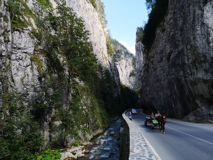 Romania mountain Peak Canyon Romania Tree Water Road Motorcycle Men Sky