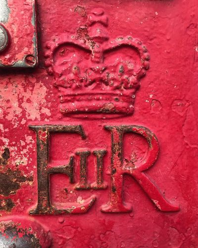 British Red Post Box Communication Red Text Close-up No People Metal Full Frame Day Textured  Outdoors Post Postbox Mailbox British England Britain Vintage Retro England🇬🇧 England, UK English Red Red Color Royal Queen