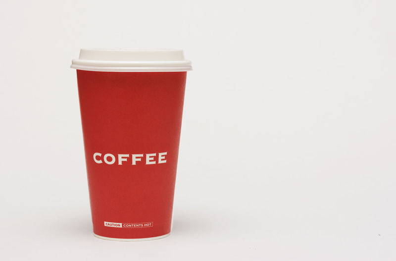 A red cup of coffee on white background. Alcohol Caffeine Close-up Coffee Coffee, Isolated, Take, Away, To, Go, Cup, Paper, Takeaway, Cap, Background, Bar, Beverage, Break, Cafe, Caffeine, Cappuccino, Latte, Mocha, Cardboard, Container, Convenience, Copy, Design, Detail, Disposable, Drink, Energy, Grab, Espresso, Fast, Food, He Drink No People Studio Shot White Background
