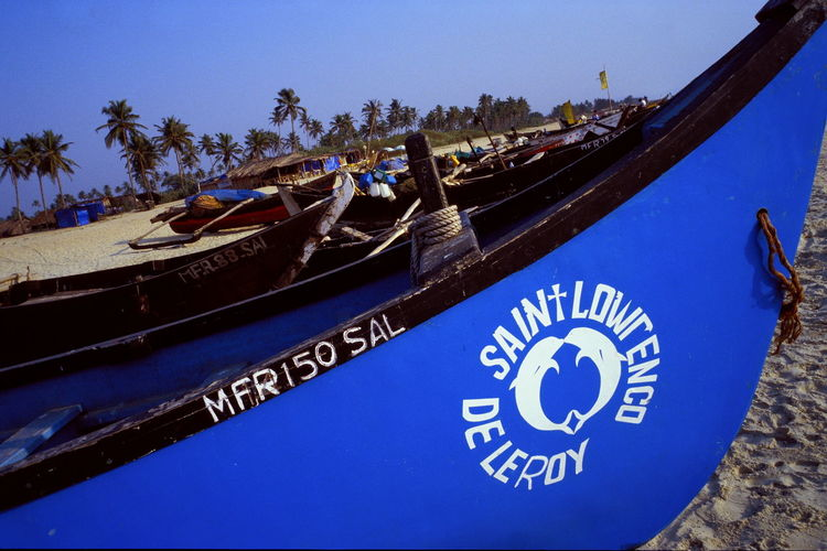 Blue Blue Color Blue Sky Boat Boat Bow Boat Prow Bow Fishing Boat Goa Jolly Boat Prow