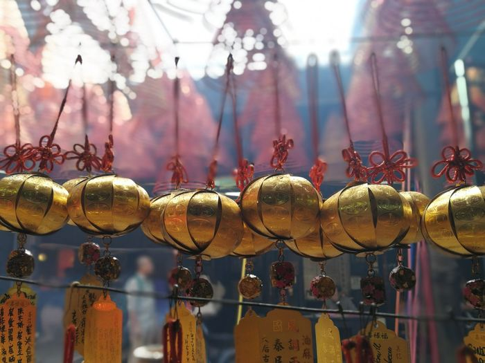 temple Chinese Temple Hanging Tradition Close-up Chinese Lantern Display