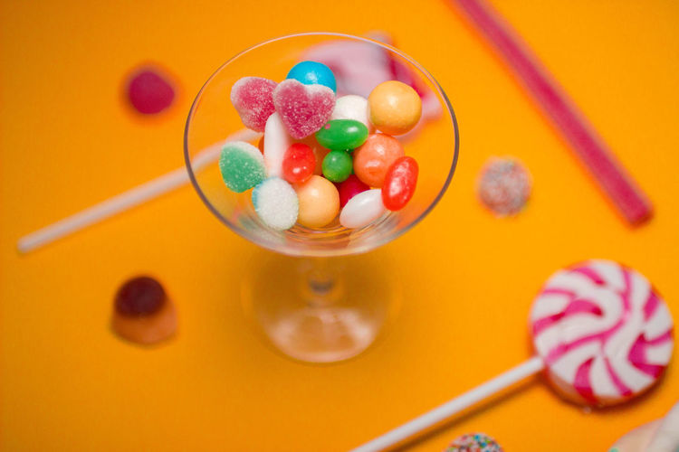 Bowl Candy Close-up Colored Background Dessert Food Food And Drink Freshness Frozen Food High Angle View Indoors  Indulgence Multi Colored No People Ready-to-eat Studio Shot Sweet Sweet Food Temptation Unhealthy Eating