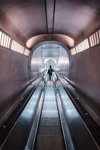 Stairs Transportation Architecture Indoors  Direction The Way Forward Tunnel Rear View Modern Travel Arch One Person Adult Built Structure Escalator Moving Walkway  Technology Convenience Connection Real People Men