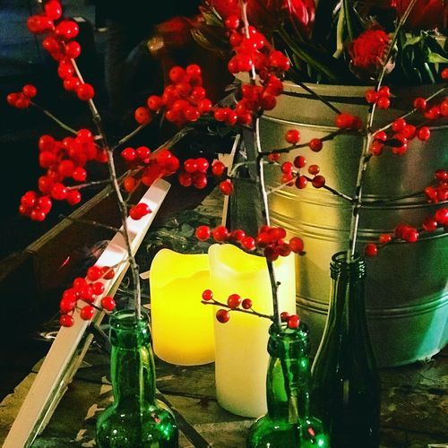 Indoors  No People Celebration Hanging Green Color Christmas Close-up Christmas Decoration Flower Nature Red