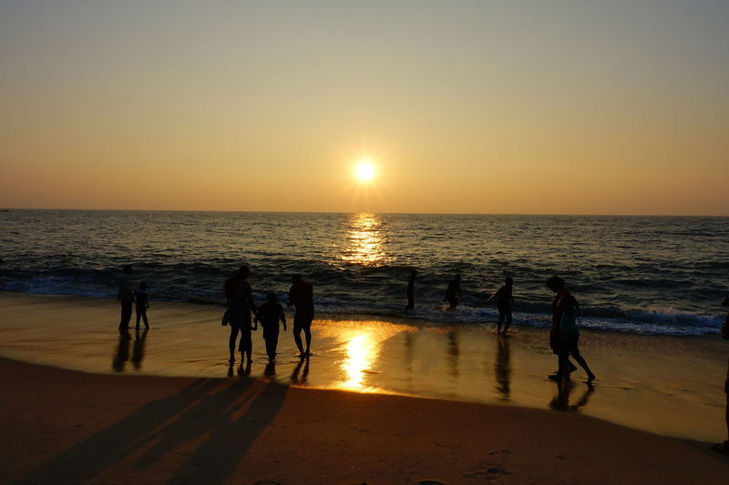 Beach Sea Sunset Horizon Over Water Sand Sun Sky Water Vacations Reflection Summer Silhouette Sunlight Nature Tourism Travel Destinations Heat - Temperature Outdoors Water's Edge People Marari Beach South India