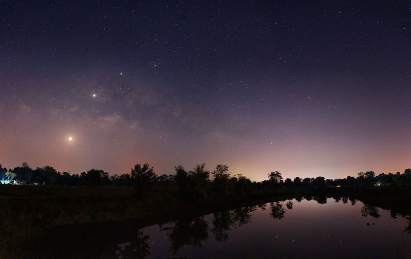 Starry night natural landscape background. Sky Scenics - Nature Night Astronomy Tranquil Scene Star - Space Beauty In Nature Tranquility Water Space Tree Lake Nature Idyllic No People Reflection Plant Star Silhouette Outdoors Milky Way