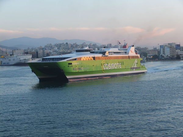 Cosmote High Speed 4 Hydrofoyle Blue Sky White Clouds Boat City City View  Composition Ferryboat Greece Harbor Hydrofoyle Mode Of Transport Mountain Nautical Vessel No People Outdoor Photography Pink Sky Piraeus Ripples In The Water Sea Ship Sunlight Sunrise Transportation Underway Water Waterfront