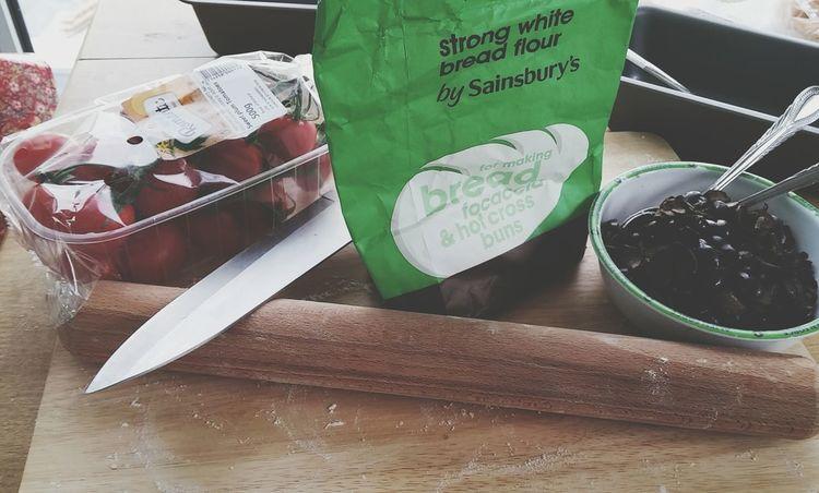 Olive Tomato Fresh Bread Rollingpin Steelknife