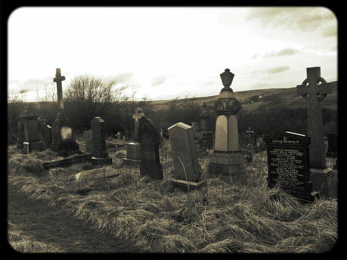 Spooky Church Graveyard.. Cemetery Graves Overgrown